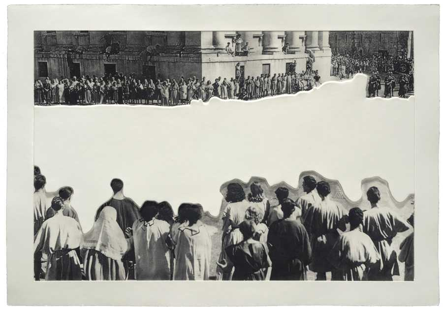 "John Baldessari, ""Crowds with Shape of Reason Missing: Example 4,"" 2012. Edition of 60. Image credit: Mixografia."