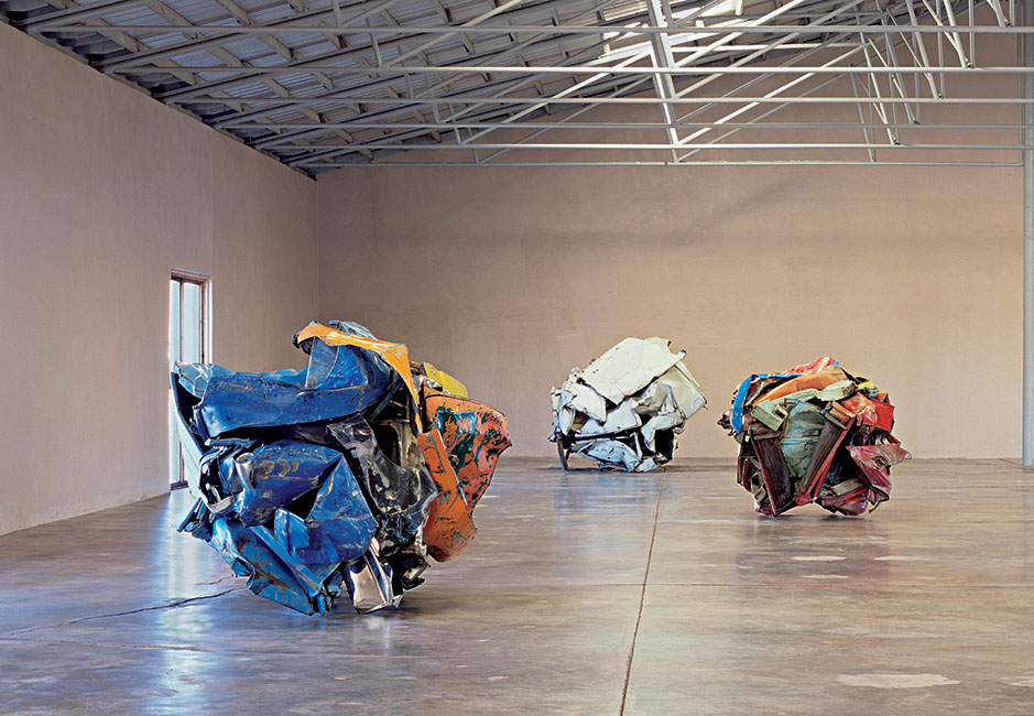 John Chamberlain, installation view, The Chinati Foundation. Image credit: The Chinati Foundation.