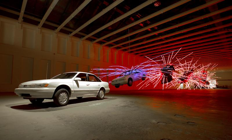 "Cai Guo-Qiang, ""Inopportune: Stage One,"" (2004). Image credit: Hiro Ihara, courtesy Cai Studio."