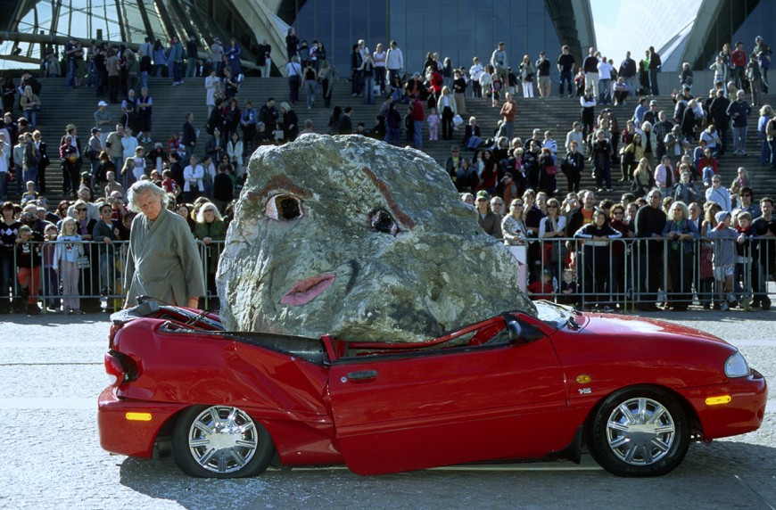 "Jimmie Durham, ""Still life with stone and car,"" 2004. Image credit:  Biennale of Sydney ."