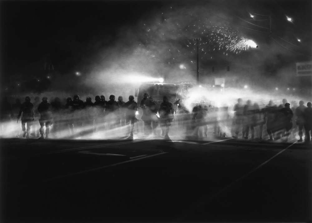 "Robert Longo, ""Untitled (Ferguson Police, August 13, 2014),"" 2014. Image credit:  The Broad ."