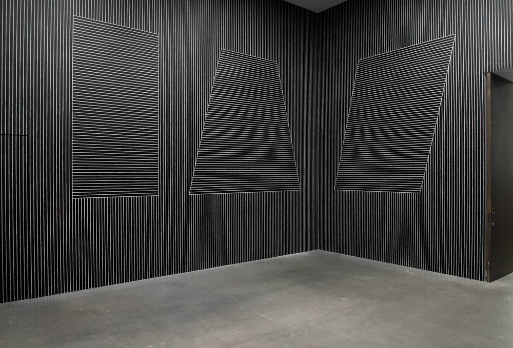 "Sol LeWitt, ""Six Geometric Figures (+Two) (Wall Drawings),"" 1980-81. Image credit: Tate."