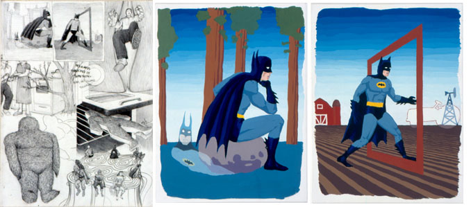 Jim Shaw, Dream Drawing and Two Dream Objects (I was painting small loose gouache paintings of Batman in improbable situations), 1998.  Image credit: Praz-Delavallade.