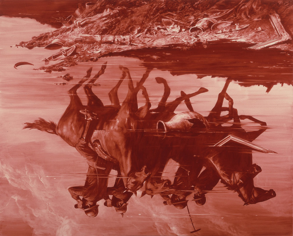Mark Tansey,  Forward Retreat , 1986. Image credit:  The Broad .