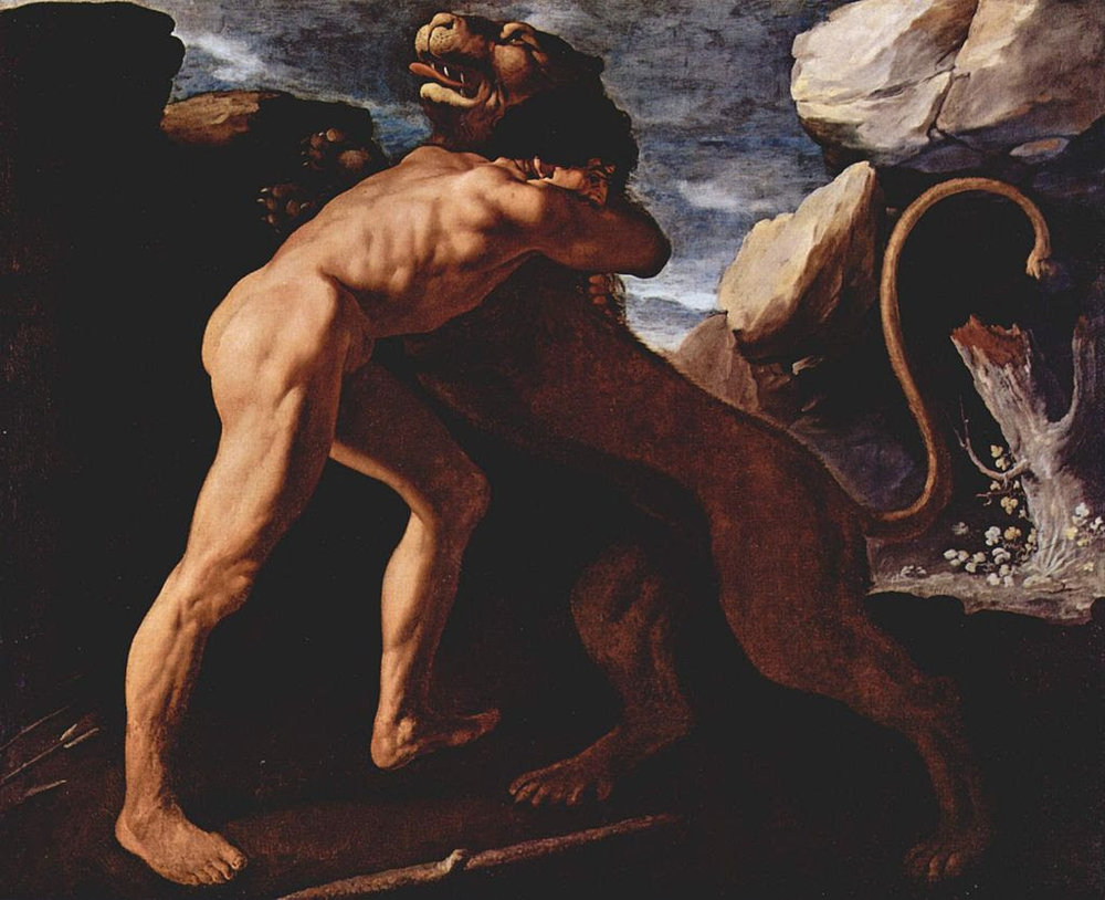 Francisco de Zurbarán,  Hercules Fighting with the Nemean Lion,  1634. Image courtesy of Wikimedia.
