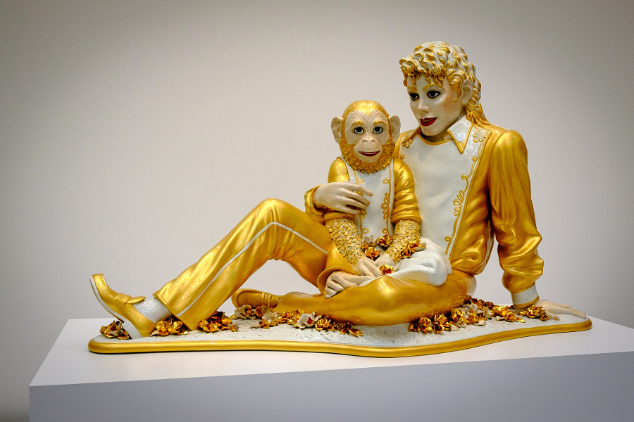 Jeff Koons,  Michael Jackson and Bubbles , 1988, created five years before the superstar was first investigated for child sexual abuse. Image by  Flickr user G. McDougall .