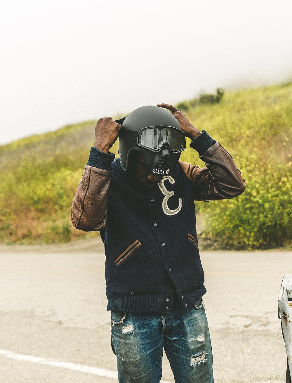 Jacket:  (Dehen)  Jeans:  (Crawford Denim and Vintage)  Helmet:  (Biltwell)  Facemask:  (Markashelmet)