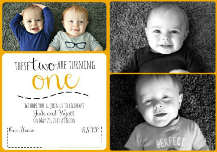 First Birthday Invitation Twins 2