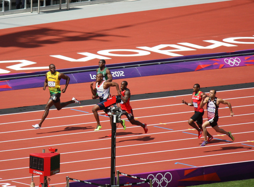 Usain Bolt winning the Men's 100m sprint in London 2012. Photo by sumofmarc. License.