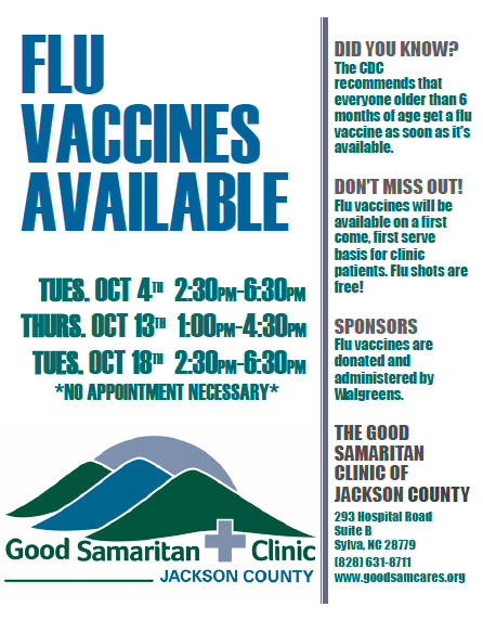 Flu shots will be administered free of charge to enrolled clinic patients during the times listed above.  Thank you to Walgreens of Franklin for their support and partnership!