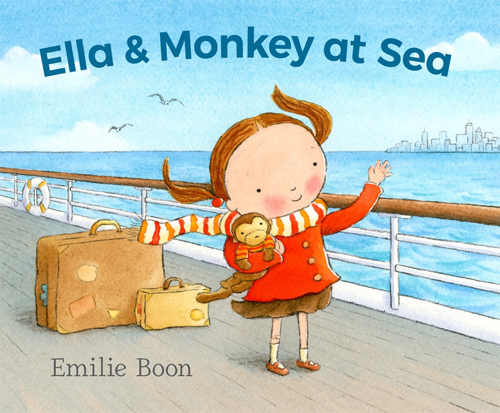 "Ella's best friend, Monkey, doesn't like good-bye hugs. He doesn't want to say good-bye to Oma. And he doesn't want to move away forever. Neither does Ella. But Papa is waiting for them in New York. So Ella and Monkey must board the ship with Mama and leave their old home in Holland for their new home in America. Along the way, there is fish for dinner (Monkey hates fish), a playroom full of new kids (Monkey doesn't like strangers), and stormy seas that leave everyone feeling sick. Can Ella and Monkey find a way to weather the storm? Will they ever feel at home again? This story will appeal to anyone who has left home behind — and to children who find creative ways to share their emotions.   32 page picture book for ages 3-7   Forthcoming from Candlewick Press, August 2018   To pre-order, contact your  local bookstore  or click  here       Advance Praise for  Ella & Monkey at Sea    ""Clutching Monkey, her stuffed animal, Ella hugs her grandmother before she and Mama board a ship bound for America. Every day, Mama leaves Ella and Monkey with a friendly teacher in the ship's playroom, where, missing home, they sadly watch other children having fun. When a hurricane churns the sea, many passengers become worried and seasick. In the almost empty playroom, Ella and Monkey draw picture after picture: bleak, angry scribbles of the storm, followed by cheerful images of the sun. Smiling, she gives her drawings to others. The story ends happily when Ella disembarks and hugs Papa. The child narrates, using short, direct sentences. Created with watercolor, graphite, colored pencil, and crayon, colorful illustrations convey the characters' feelings well. The book reflects Boon's childhood experience of leaving the Netherlands and traveling to America on a ship that encountered a hurricane. She sensitively portrays a child who struggles with loss but copes by expressing herself through art and by transferring her emotions to Monkey and then comforting him. A satisfying picture book telling one immigrant's story."" —   Carolyn Phelan, Booklist Online Reviews       ""Can a girl and her toy monkey adjust to a move across the sea?  After a tearful goodbye hug from Oma, Ella and her stuffed monkey, Monkey, embark on a journey across the ocean with Ella's mother to their new home in New York. Colorful watercolors portray the pigtailed, round-cheeked heroine and her beloved toy as they begin to navigate the boat, but it soon becomes clear that Monkey is less than pleased. He ""doesn't want to get on a ship, or sail off to sea, or move away forever."" He is unhappy with their unfamiliar bunk beds and the ship's playroom. He misses Oma and hates fish. Meanwhile, a storm is brewing at sea. The rocking ship makes everyone seasick, and only Ella and Monkey seem to be walking around, so the two decide to try to scribble the storm away with crayons. After an expressive drawing session, Ella begins to sketch the sun and remembers that she has a hello hug from Papa to anticipate when the ship docks. Based on the author's childhood experiences when her own family emigrated from the Netherlands, this story of a child working through her frustrations and adjusting to change with help from a toy is warm and comforting. Ella and her family are white; there are families of color onboard the ship with them.  A warm tale of catharsis and acceptance.""   (Picture book. 3-6) ––    Kirkus Review"
