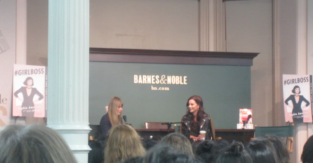 Amy Astley, Editor in Chief of TeenVogue, interviewing Sophia Amoruso at Barnes & Noble Union Square