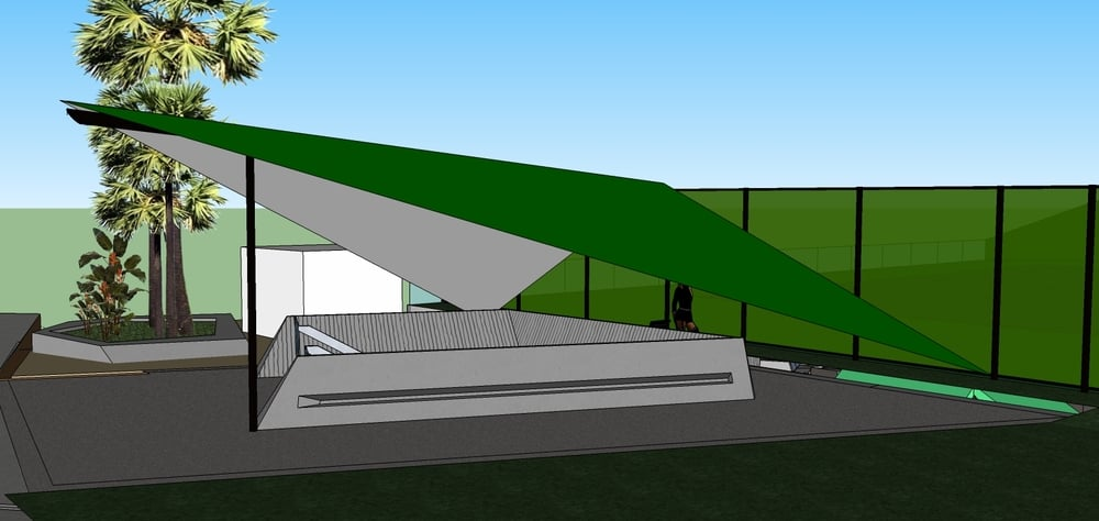 Early rendering of entry canopy