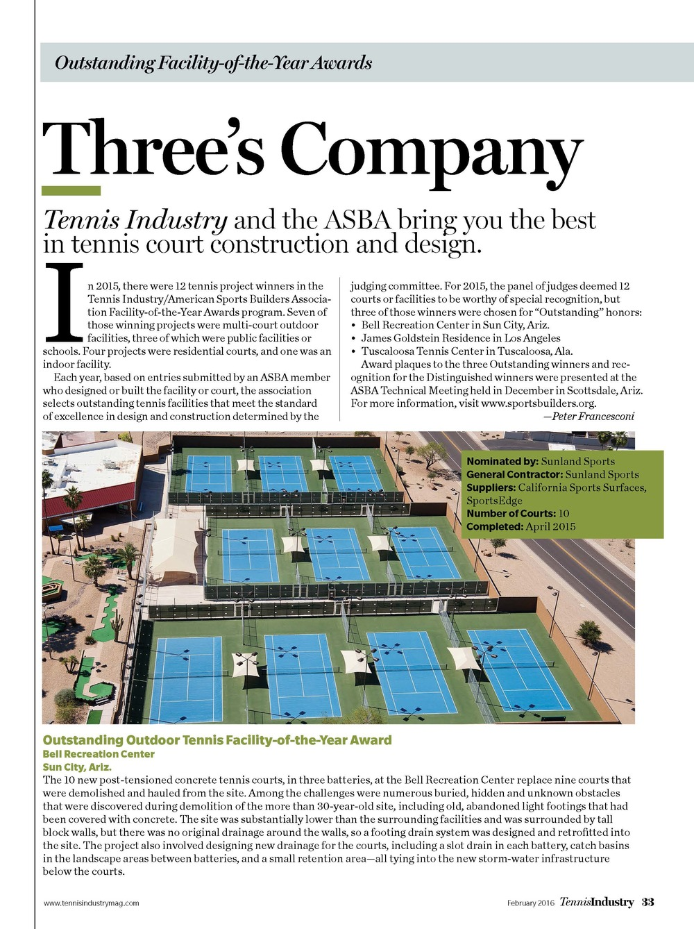 Tennis Industry Award Best Tennis Courts
