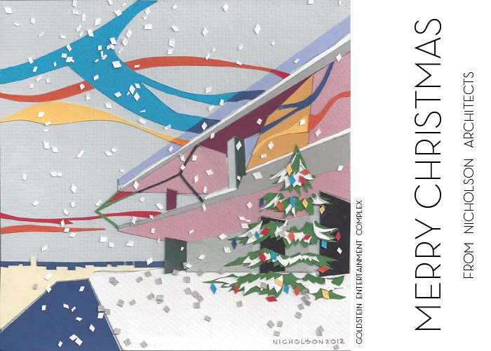 2012 Holiday card for Nicholson Architects, hand cut construction paper by Duncan Nicholson.