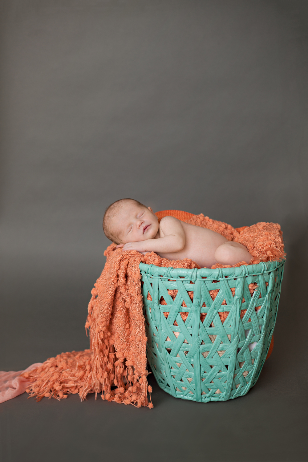 Worthington Photographer, newborn photography session, teal basket