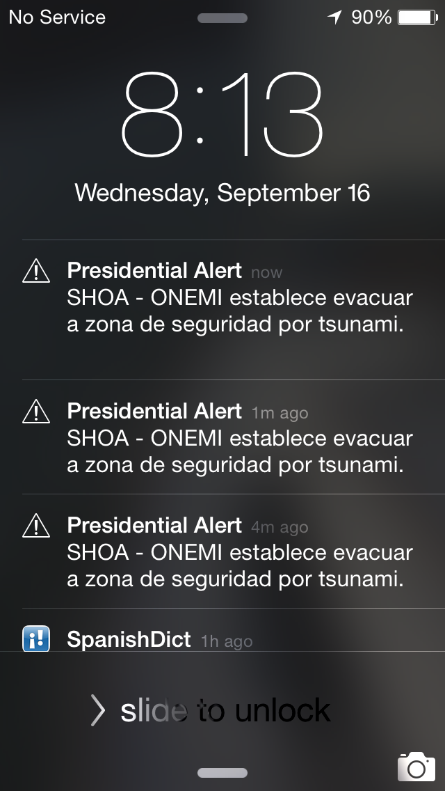 Without WIFI or cell phone reception, but I still received the Presidential Alert warning of tsunamis.