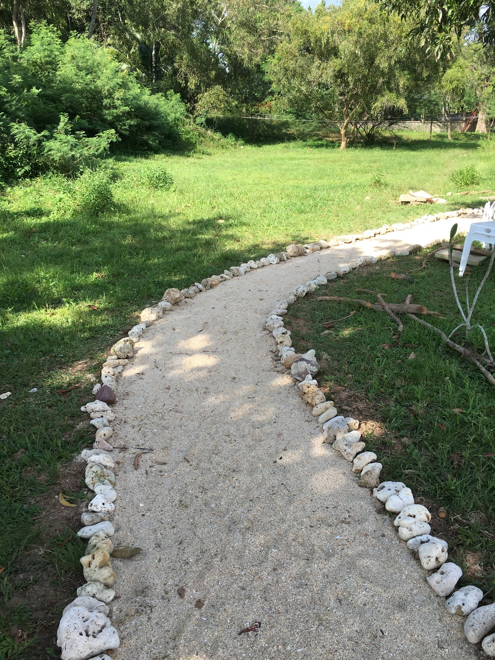 The walkway from the restaurant to the beach.  Sand, lined with coral.  This will be a lot better than trudging across the long grass which may hide snakes, frogs, centipedes, and other interesting characters...
