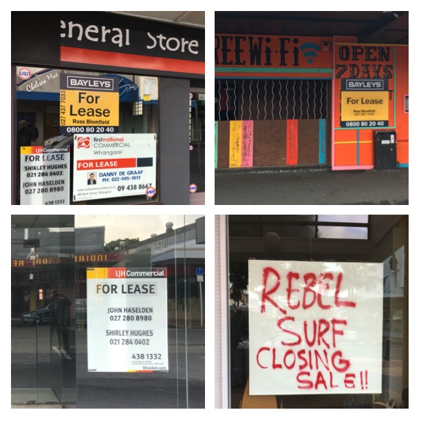 "There are a lot of commercial spaces for lease in Whangarei.  Not sure if it's just ""low season"" or if the town is suffering from a more serious downtown?"