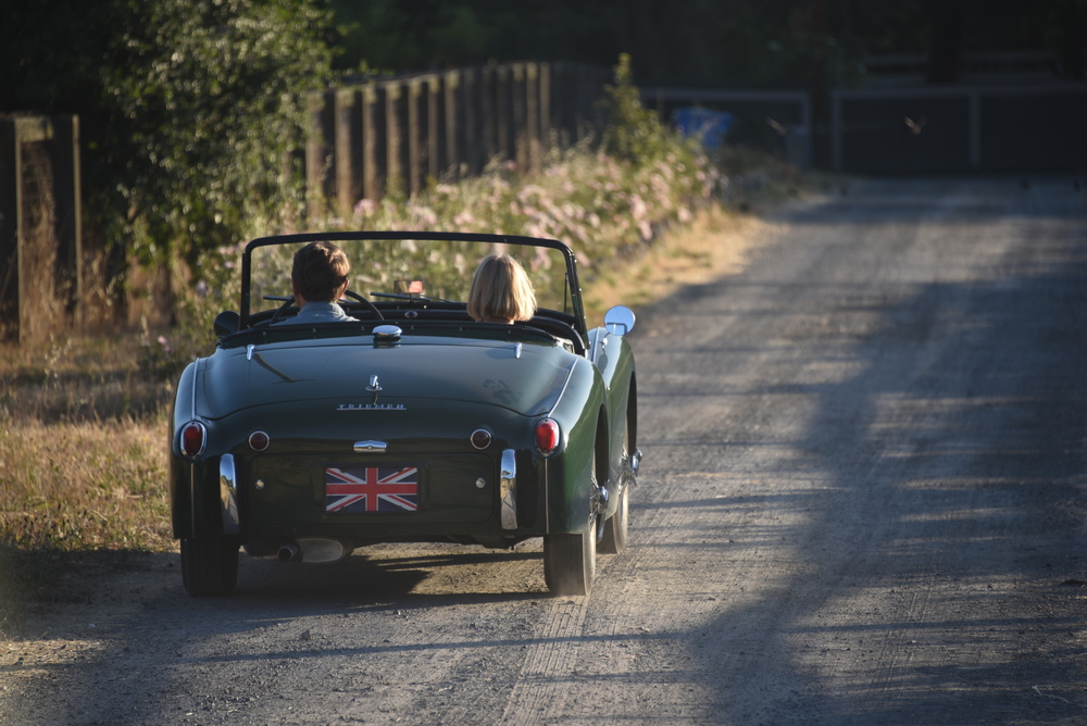 Moments later, owners decide to put the top down and test out the TR3 on the curvy Sonoma roads.  Have fun R & L!