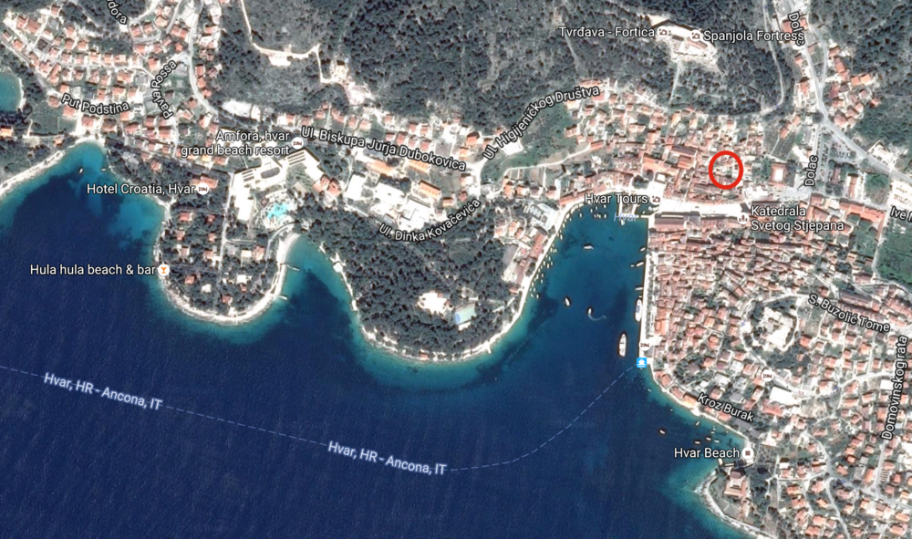 My apartment (found through Airbnb, approx. where red circle is) was a small unit in a 15th century stone house. The host family has lived in the house (and on Hvar) for multiple generations.