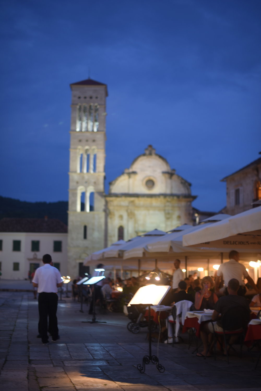 The main plaza in Hvar - a good place for dining before pursuing the town's world famous nightlife.