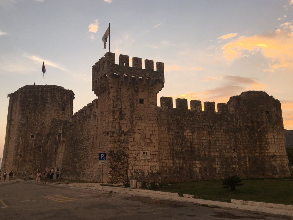 The fortress in Trogir at sunset.  Stunning.
