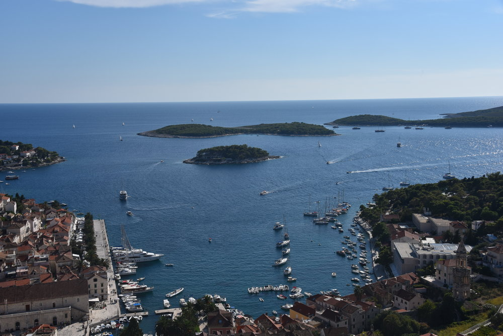 View from the Fortress Spanjola overlooking Hvar Town.  The promenade is on the left.  Our sailboat is tied up to a mooring ball on the right somewhere.