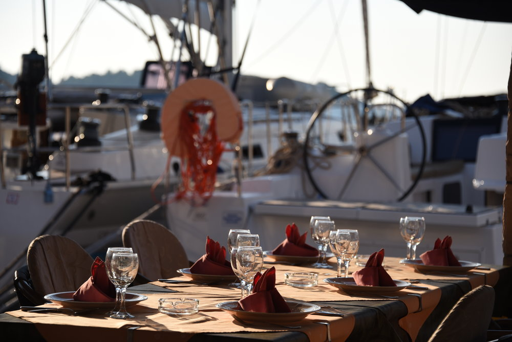 In Pomena, on the island of Mljet, we med-moored in front of a restaurant for two nights. (They didn't charge us, but required us to eat there both nights.)