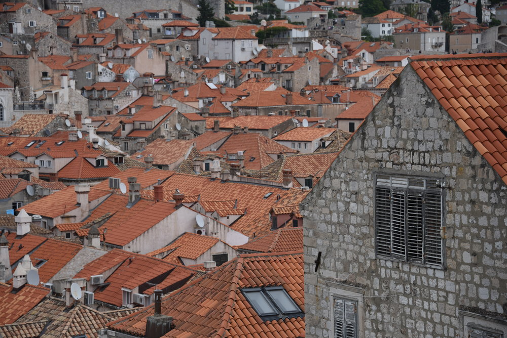 The red roofs of Dubrovnik.  Lighter colored tiles are replacements for bombing damage in the 1990's.