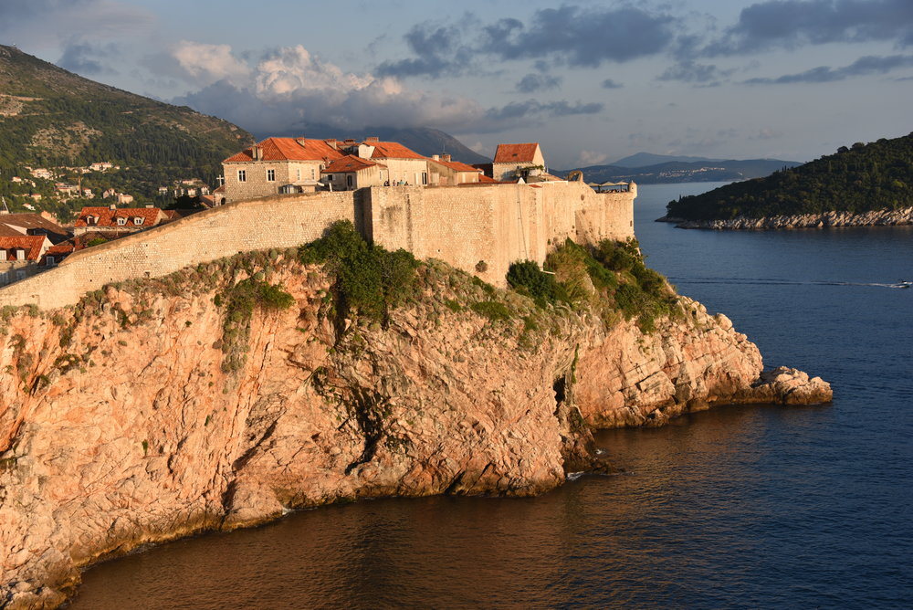 Outer walls of Dubrovnik at sunset.