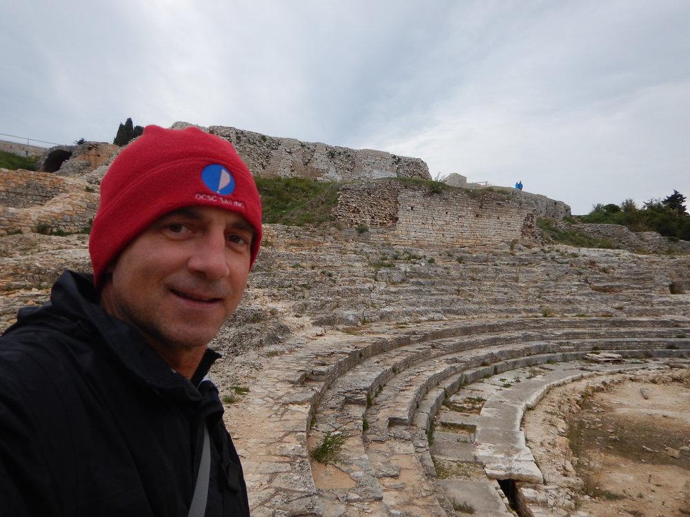 Exploring a hilltop Roman amphitheater.