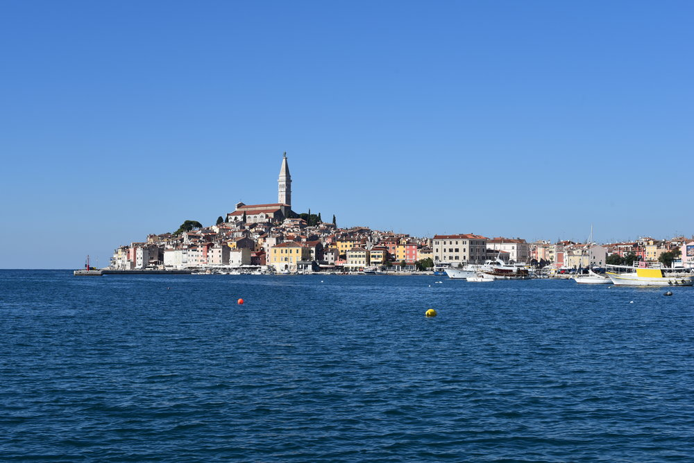 Rovinj Old Town from a bit further away (I'm at the ACI Marina, across the bay, on the walk toward Zlatni Rt Park).