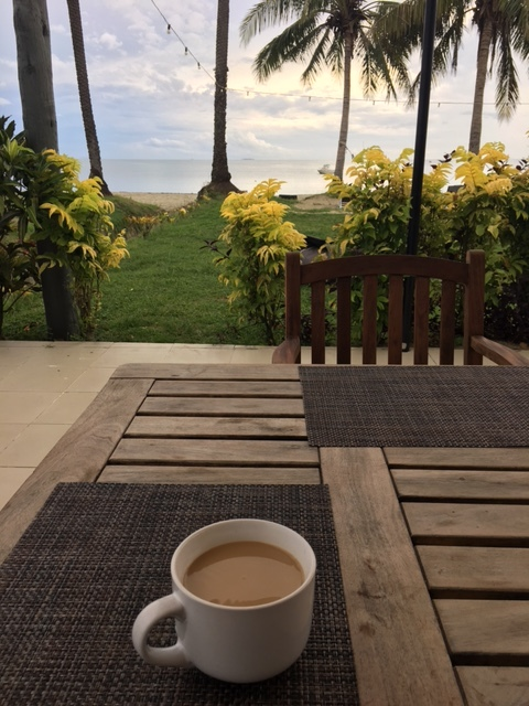 Morning coffee at my hotel.  What scenery!
