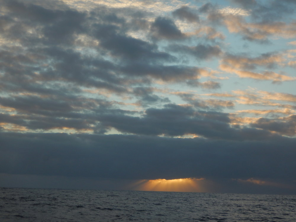 "This sunset was from our previous sail south, from Fiji to New Zealand in the fall of 2016.  I like this shot because it epitomizes the saying ""there's a bright spot on the horizon.""  And I'm aiming for it."