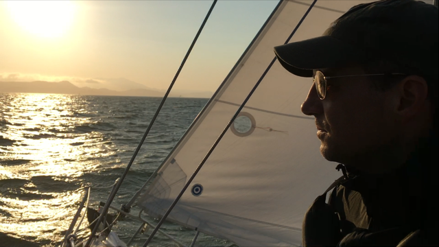 Sailing on the San Francisco Bay at sunset, and continuing to rack up sea time for my logbook.