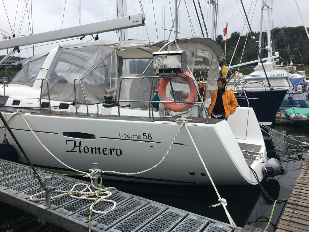 Pretty much brand new 58-foot Beneteau, Homero II.  The enclosed cockpit is very useful when sailing in Patagonia, where there is a lot of rain and cold wind.