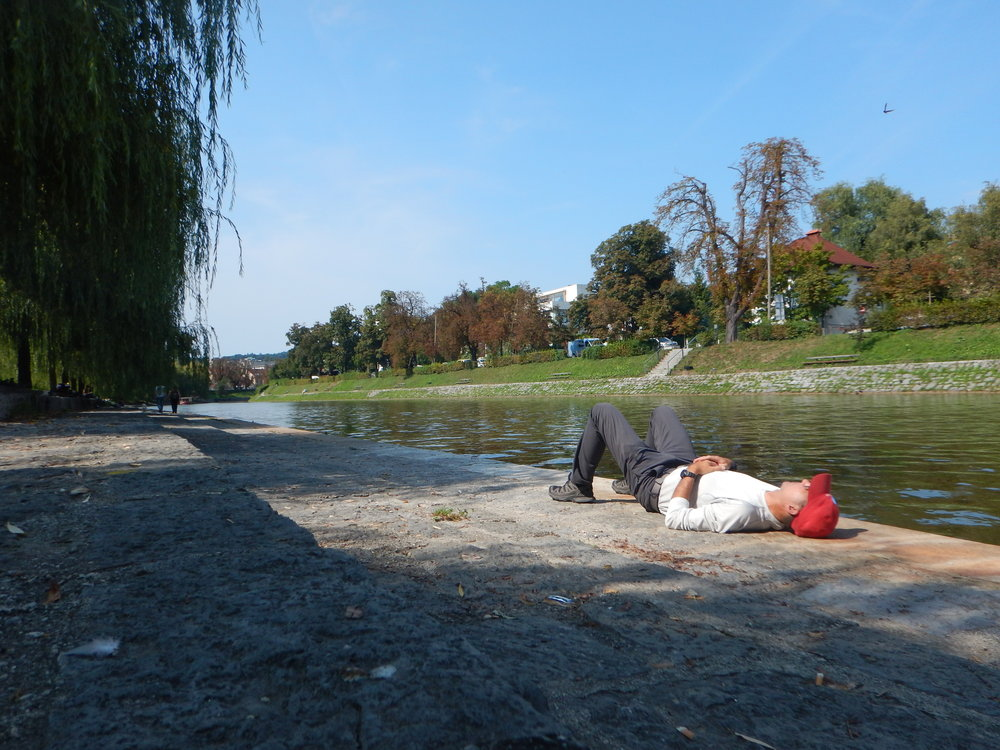 "Taking a break along ""the beach"" in Ljubljana, Slovenia."