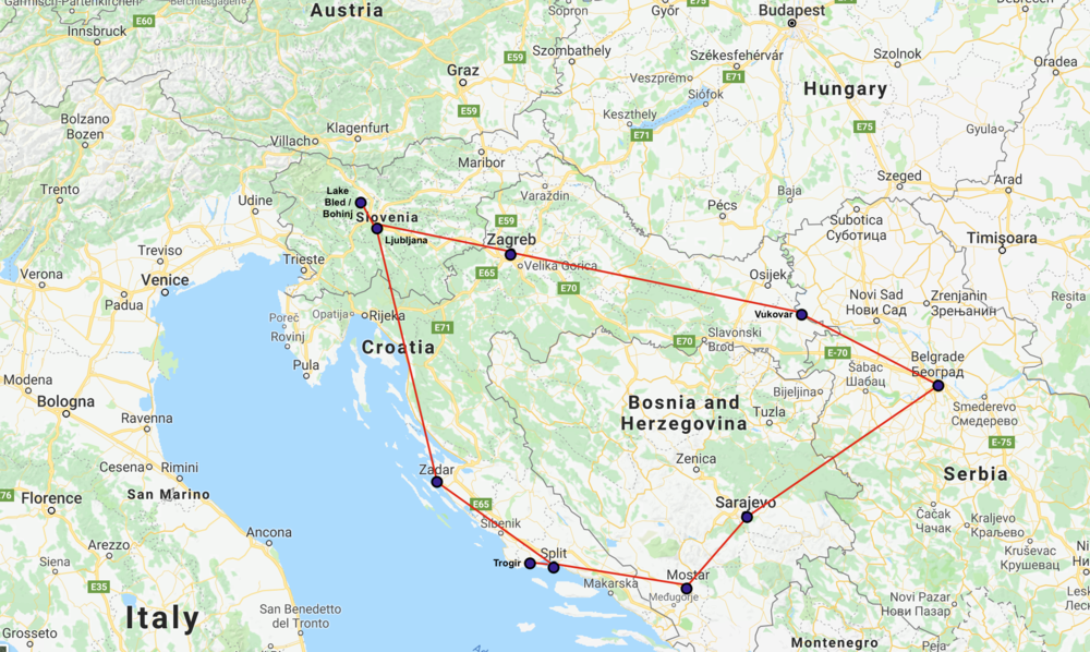 This was my route, starting and ending in Split, going in a clockwise direction.  I covered 1,920 kilometers (about 1,200 miles) in 3 weeks of bus travel.  Total bus fares came to about $250.  So averaged about $0.20 per mile.