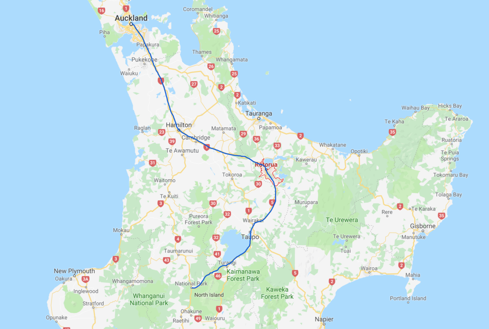 This is the round-trip bus trip I took over the course of about 2 weeks. I spent most of the time just south of Lake Taupo in the villages of Turangi and Whakapapa. Whakapapa is too small to show up on the map, but it's near National Park.