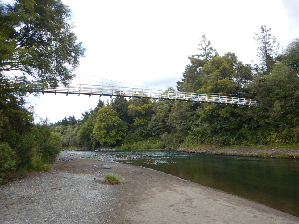 One of two suspension bridges to cross.