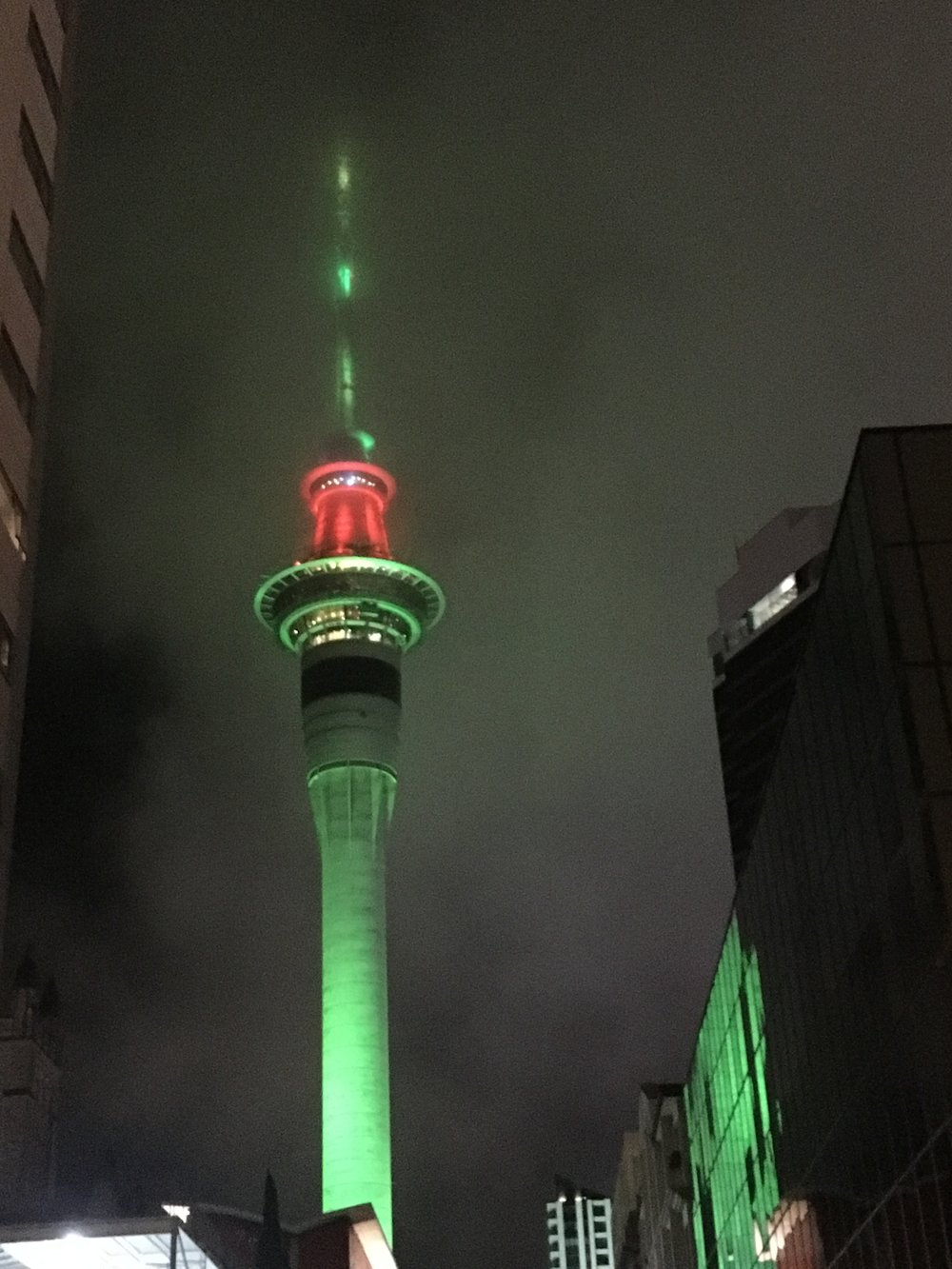 Sky City tower lit up for the Holidays.