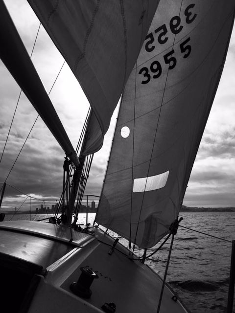 Although I didn't teach any sailing classes, I did take the J24 sailboat out a few times for some winter sailing.