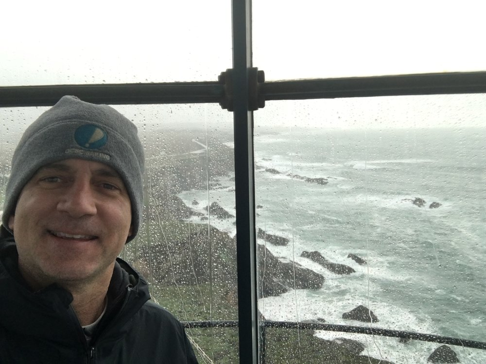 at the top of cape blanco lighthouse.