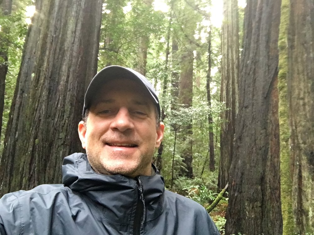 Not the best picture of me, but here I am on a short walk through the Redwood Forest. It was great to visit during the offseason because there was no one on the trail! Quiet and peaceful!