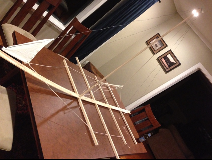 It all began in 2013 with this model of a J24 keelboat made out of wood, string, and wire so that I could practice maneuvers and commands.