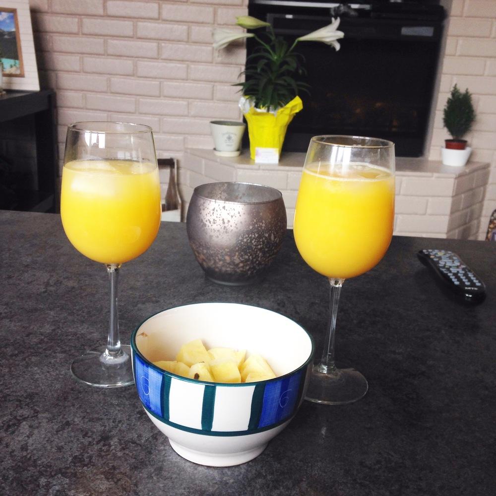 Celebratory engagement mimosas!