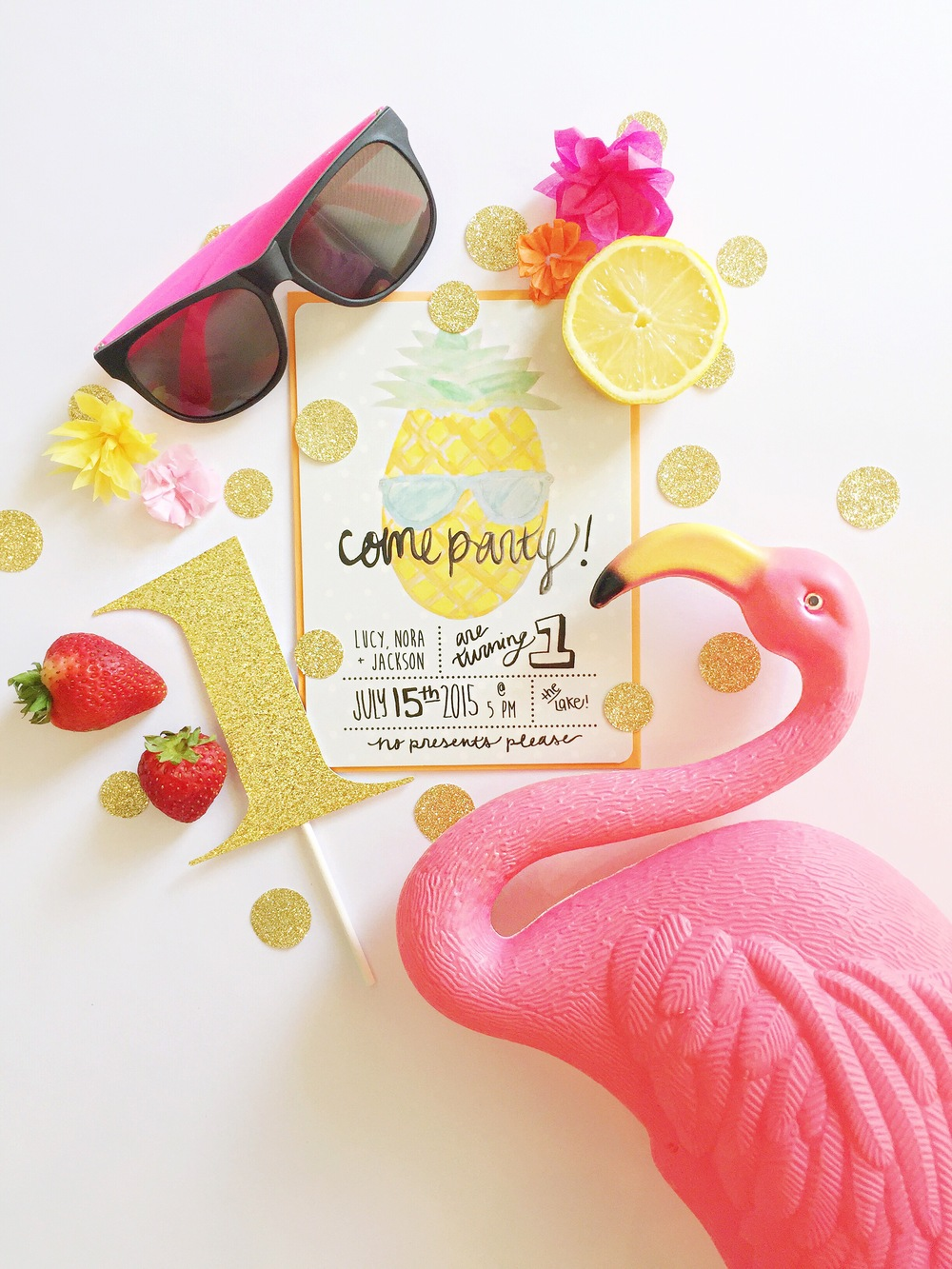 Gorgeous invites designed by Lauren. Glitter '1' by Glam Banners, Flamingo & sunnies Amazon