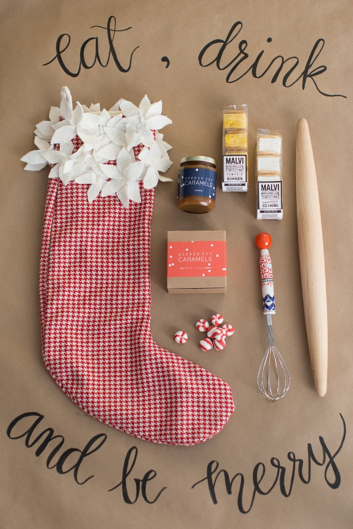 Styling by Mari Spiker, stocking by Tinsel, whisk by Anthropologie, rolling pin stylists own (can find similar ones on Etsy, I'll provide link at bottom), caramel by Copper Pot, and gourmet marshmallows by Malvi Mallow.