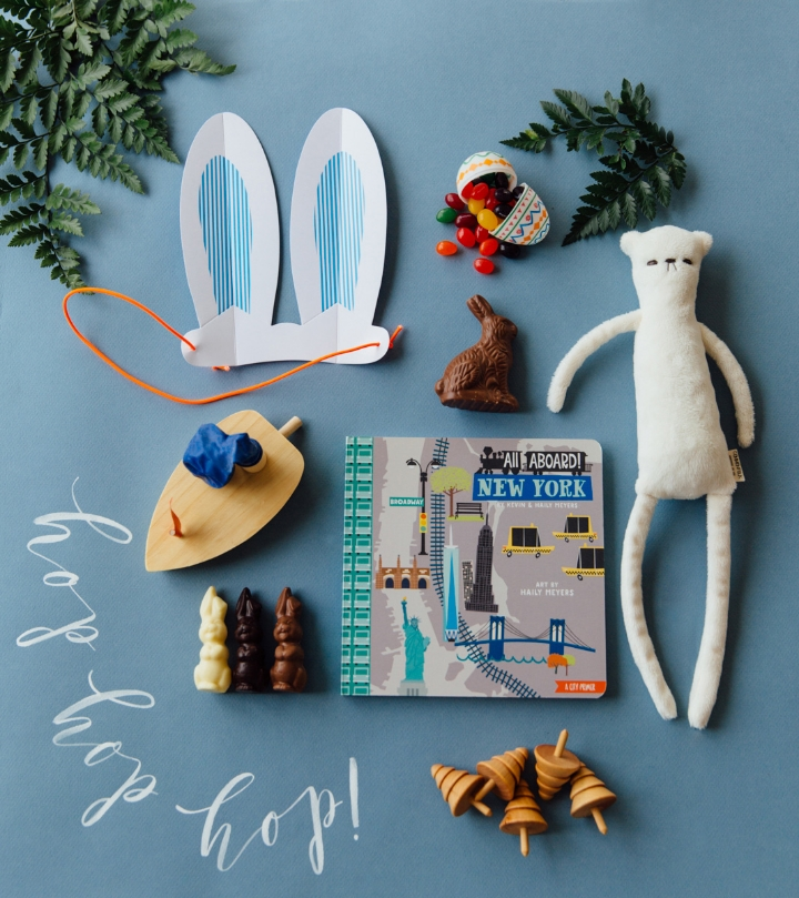 Book: Anthropologie, Wooden Toy Tops and Boat: Fawn Shoppe, Handmade Bear: Commonfolk, Calligraphy: Whitney Perdue Designs, Photo: Stephanie Sunderland Photography, & Styling: Mari Spiker